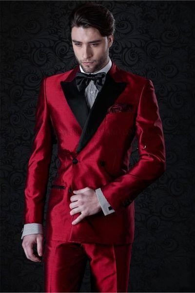 New Popular Design Double Breasted Shiny Red Wedding Groom Tuxedos Peak Lapel Groomsmen Mens Dinner Blazer Suits (Jacket+Pants+Tie) 380