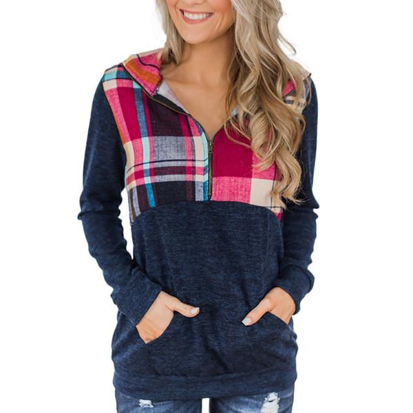 Feitong Womens Long Sleeve Plaid Print Sweatshirts Ladies Causal Long Sleeve Wrap Zipper Sweatshirt Pullover Tops sudadera mujer