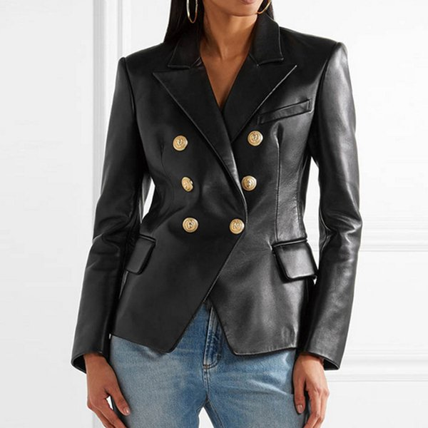 best selling Women 2019 competitive products Leather clothing Suit coat Female style Metal lion head Button Double-breasted Little Leather clothing coat