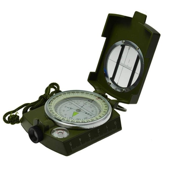 Der Yan He-Kompass, Banne Metal wasserdichter Kompass, Camping-Kompass fluoreszierender Zeiger-Kompass (Armee-Grün)