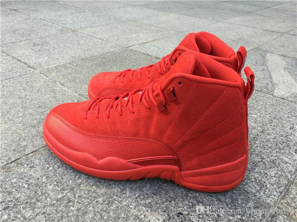 best loved d202b d4c94 Sports Men Sneakers Cheap 12s Air 12 Retro All Red Suede Retros 12s All Red  Suede Basketball Shoes 12s Black Nylon With Size 8 13 Purple Shoes Scholl  ...