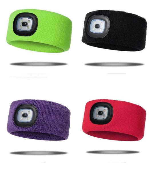 2 in 1 LED fari fascia dei capelli 5 colori guida notturna lavorato a maglia luce della testa di caccia di notte Patrol Searchlight 60 Pezzi DHL