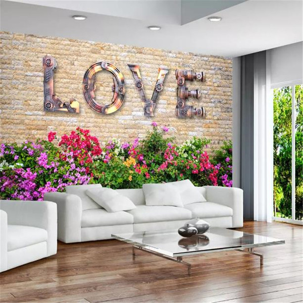 Compre Custom Photo 3d Wallpaper European Retro Vintage Love Brick Wall Tv Fondo De Pared Decoración Mural Wallpaper A 2815 Del Yunlin189