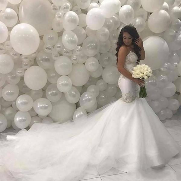 2020 abiti arabo Medio Oriente sirena Abiti da sposa Sweetheart Corte dei treni Pizzo Perline corsetto vintage sposa