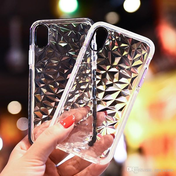 factory price Ultra Hybrid 3D Diamond Soft TPU Phone Cases for iPhone 6s 7 8 plus xr xsmax Crystal protective Clear Cover for samsung s9