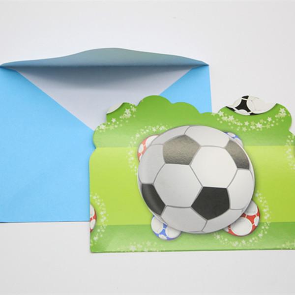 Tarjeta de invitación de fútbol 6 piezas Accesorios de boda Invitación de fiesta de boda de cumpleaños Alcantarilla Baby Shower Fiesta de cumpleaños Decoratio