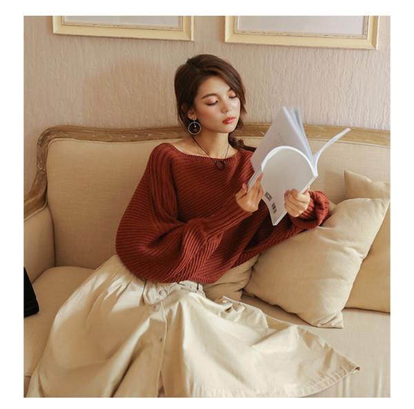 A spalle lunghe maniche pipistrello maglione di autunno delle donne allentato maglione Mujer Womens Inverno Ponticelli Pull Femme