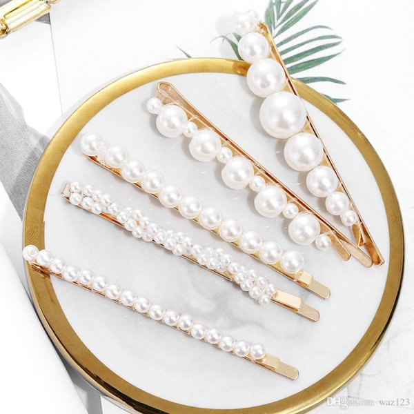 4PCS / Set dei capelli delle donne di modo della perla della clip pettine perno Barrette tornante copricapo dei capelli strumenti per lo styling della clip accessori N1