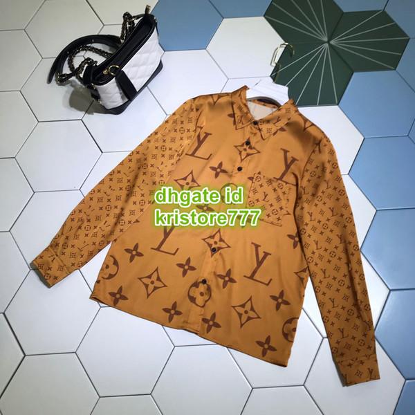 kristore777 / 2019 Mulheres Camisa Blusa Com Carta de Impressão Feminina High-End Camisas Casuais Blusa Meninas Oversize Dois Colorrs Breve Pista Tops Longo T-Shi