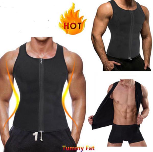 Hot Mens Fitness Shapers Compression Slimming Tank Shaper Vest Waist Trainer T Shirt Zipper Hot Body Shaper Fat Burner Shapewear A42602