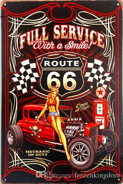 route 66 full service beer hot 20*30cm blond beauty motorbicycle Tin Sign Coffee Shop Bar Restaurant Wall Art decoration Bar Metal Paintings