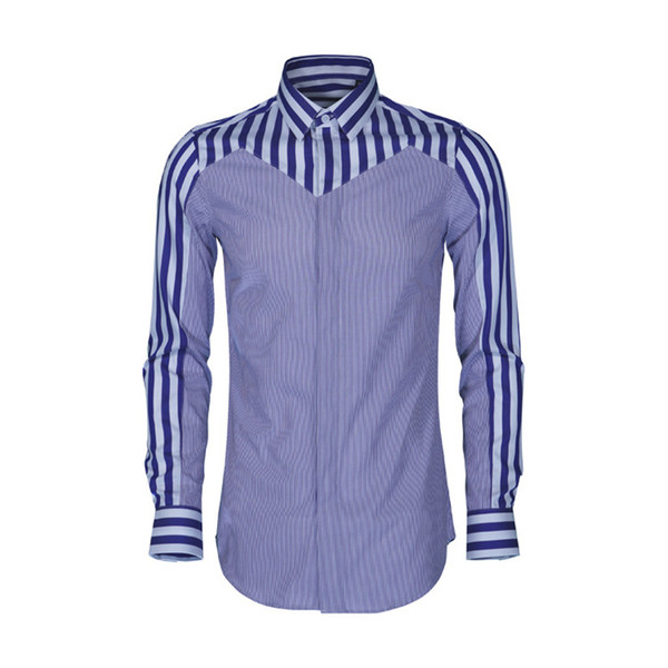 Contrast Multi-striped Mens Shirt 2019 Fashion Slim Casual Shirts Men High Quality Cotton Silk Camisa Masculina Plus Size 4xl 48