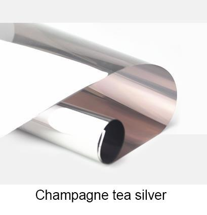 Champagne tea Silver Waterproof Window Film 40/50/60x400cm One Way Mirror Silver Insulation Stickers UV Rejection Privacy Tint Films
