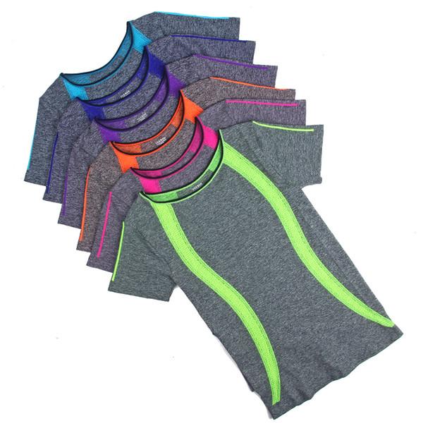 Haut Élastique Yoga Gym Compression Collants T-shirts De Sport Pour Femmes Séchage Rapide Courir À Manches Courtes Fitness Femmes Vêtements Tees tops
