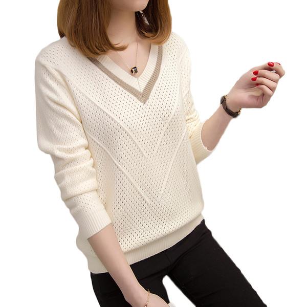 Женские свитера и пуловеры весна осень корейский полые свитера Женские свободные вязаные свитера женский V-образным вырезом пуловер топы