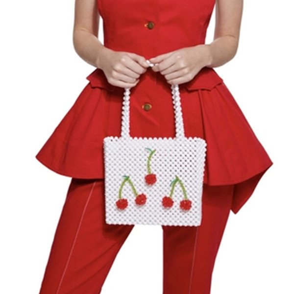 Cherry Strawberry Pearls Bags Handmade Woven Bearded Women Tote Pearl Top-handle Handbags For Ladies Girls Evening Party