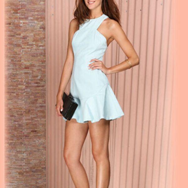 Fasion femmes d'été sans manches Halter Soirée Casual Short Mini robe