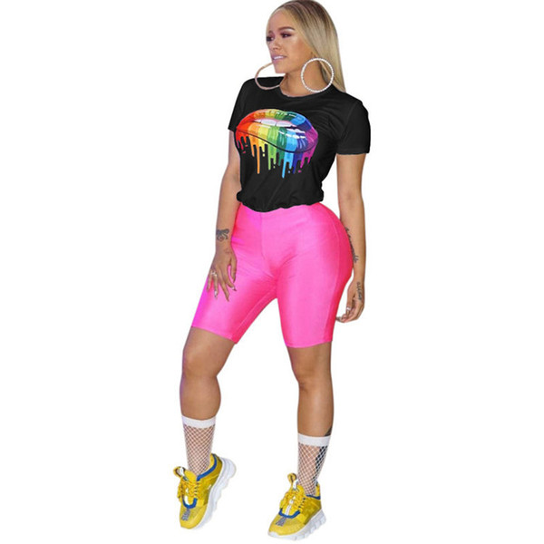 women Summer T shirt Short Sleeve round neck rainbow lip print fashion T shirts S-3xl plus size tee sports street wear tracksuit tops A3134