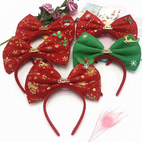 Новый дизайн Рождество большой лук заколка для волос с Elk Festival Hair Hair Hoop ювелирные изделия Позолоченная Ткань с Большой узел лук X'mas праздники аксессуары для вечеринок