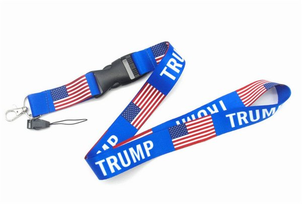 best selling Trump Lanyards Keychain strap USA Flag Make America Great Again ID Badge Holder Key Ring Straps for Mobile Phone Party Favor