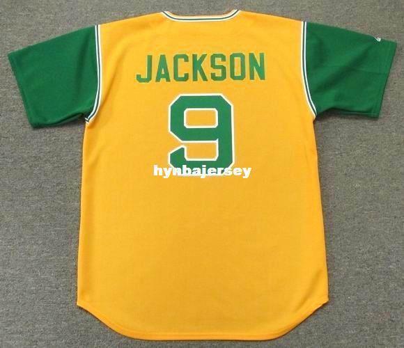 Barato Personalizado REGGIE JACKSON Oakland Costurado 1969 Majestic Cooperstown Camisola de Beisebol Retro Mens Jerseys Correndo