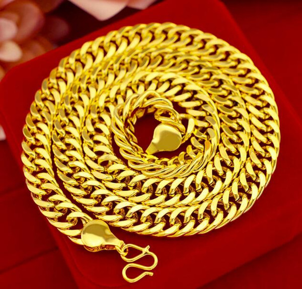 Men's 10mm solid 18K Gold Plated Curb Link Flat Chain 24' Miami Necklace 103