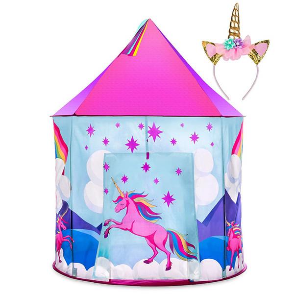 Unicorn Pop Up Kids Tent w/ Unicorn Headband and Case Unicorn Toys for Girls Indoor Princess Castle Kids Play Tent (Pink)