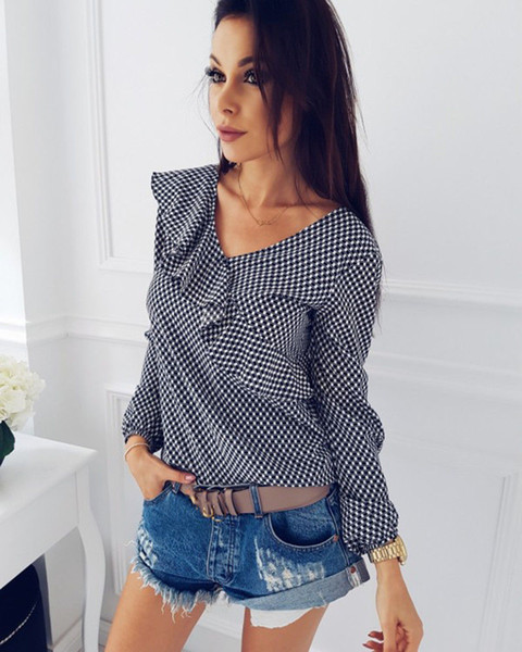 Women T-shirt Long Sleeve Casual Loose Plaid Ruffles Top Ladies T-Shirts V-neck Tee Tops Summer Women Clothes 2019