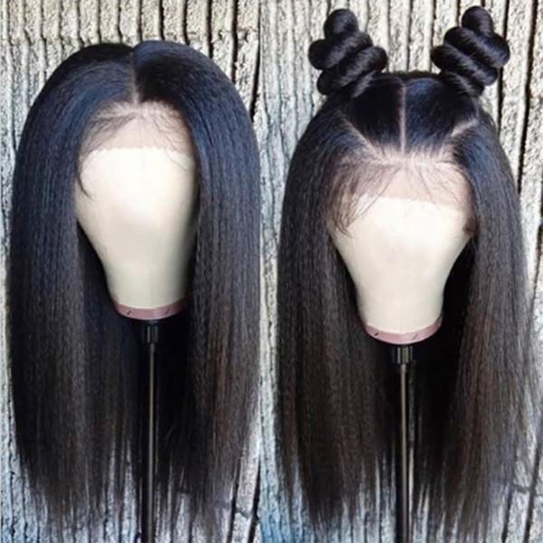 9A Grado Parte profunda 13x6 Pelucas delanteras del cordón con el pelo del bebé Yaki recta brasileña virginal del pelo humano Bob pelucas para las mujeres negras