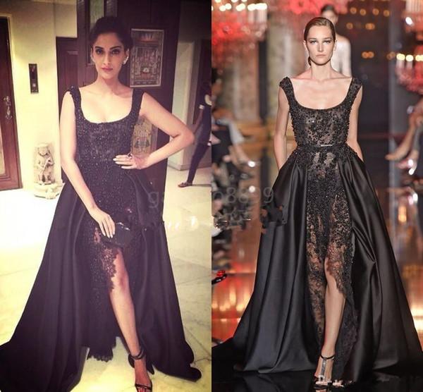 Elie Saab Sonam Kapoor Occasion Prom Gowns Hot Sexy Black Lace Pearls Crystal over skirts Split Evening Dresses Dubai Saudi Arabic 1048