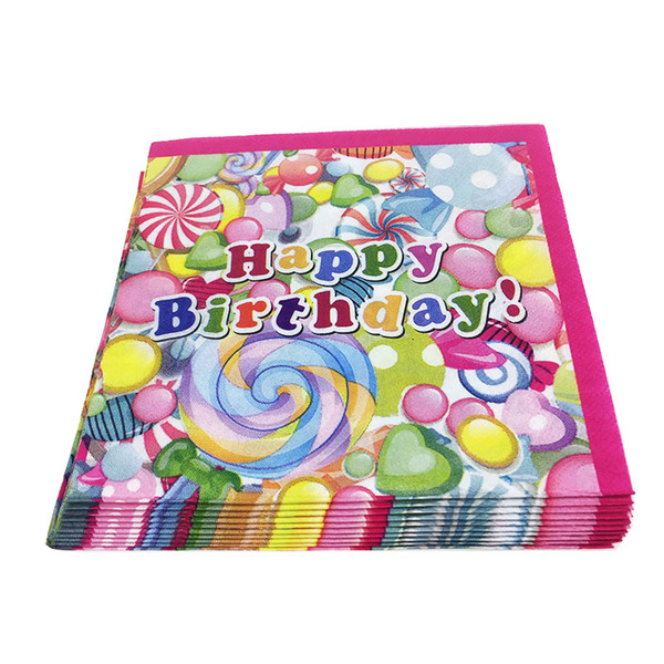 top popular sweet sugar Lollipop theme Paper Napkins for Happy Birthday Party Cartoon Napkin Kids Favors Decoration Supplies 60pcs lot 2021