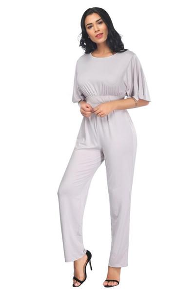 Summer New Women High Waist Jumpsuit Elegant Short Sleeve Wide Legs Jumpsuit Loose Solid Slim Ruffle