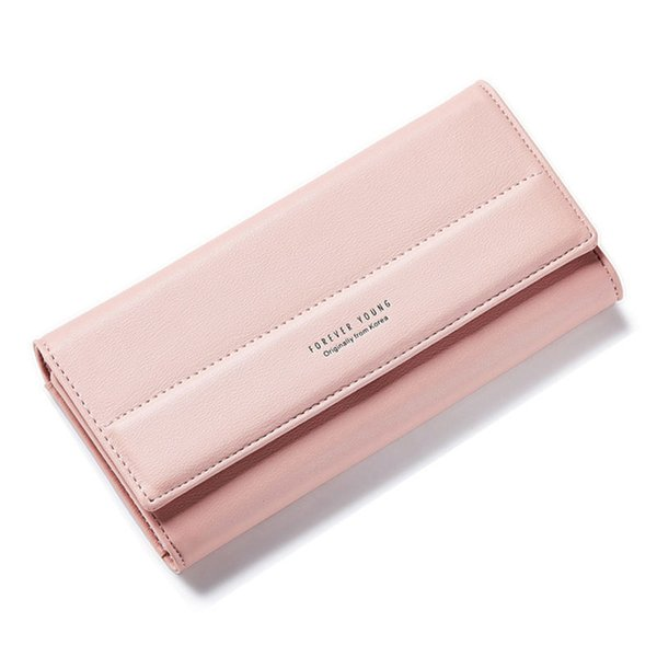 2019 New Brand Designer Simple Long Solid Hasp 3 Fold Women Wallet Lady Coin Purses Card Holder Package Pu Leather Money Bags
