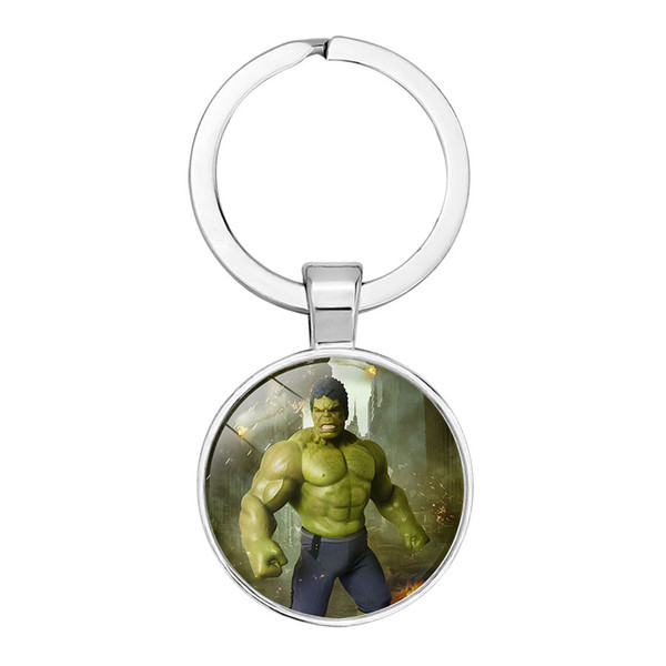 The Hero Pictures Key Hoder Iron Man/Thor Glass Car Key Ring Hand Bag Accessory for Boy Men Gift