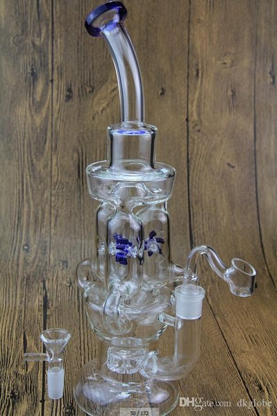Cheap windmills spin glass bong propeller perk Oil rag three Rotating cyclone recycler bong water bong water pipe