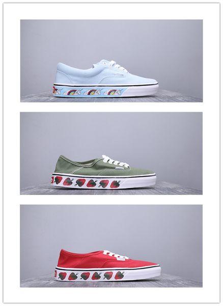 Erkek Çilek Yeşil Rahat Ayakkabılar Bayan Aut SF Baskı Kanvas Ayakkabılar Erkekler Scooter Ayakkabı severler Moda Paten Rahat Sneakers 36-44