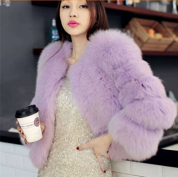 Çok Yumuşak Sıcak Kısa Fox Kürk Ceket Kaban Casual Bayanlar Kalın Kış Dış Ceket Moda Kraliyet Mavi Kış Coat