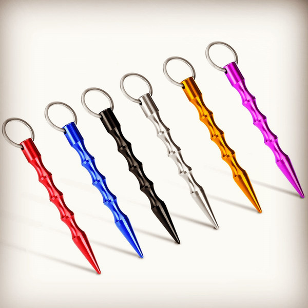 top popular Wholesale Solid Self-Defense Key Chain Aluminum Anti-Wolf Keychain Tool Include Keyring for Women Teens & Man Multicolor 2021