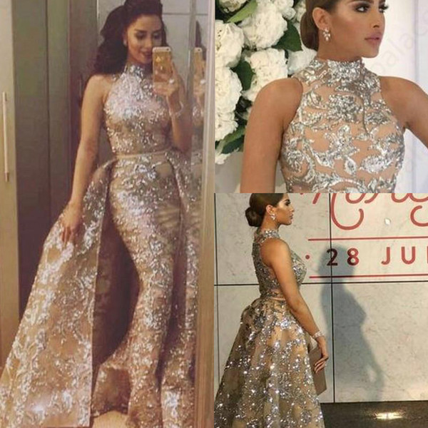 Luxury High Neck Mermaid Evening Dresses wear Formal Gowns with Overskirt New Arrival Silver Glitter Powder Fabric Prom Dress