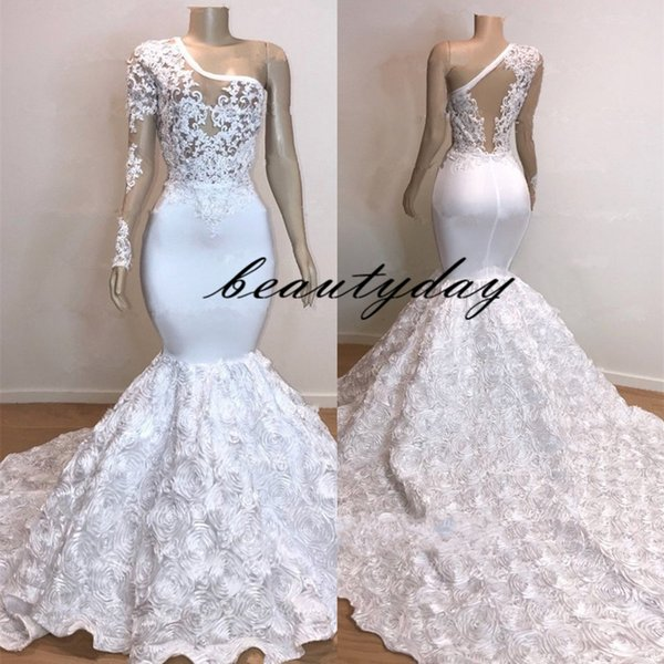 2019 New Mermaid Wedding Dresses Long Sleeve Appliques Hollow Back Castle 3D-Floral Rose Flowers vestido de novia Beach Bridal Gowns