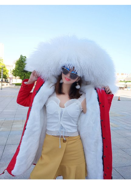 fashion MAOMAOKONG Brand white Mongolia sheep fur hoody trim maomaokong brand white rabbit fur lining red long parkas