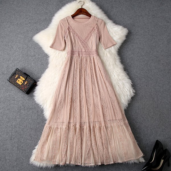 2019 Spring Summer Spaghetti Strap V Neck Floral Print Lace Panelled Midi Dress Casual +Top Two Piece 2 Pieces Twopiece Set A0222T9633