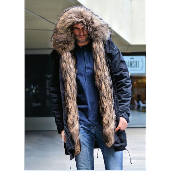 BFFUR Raccoon Fur Parka Winter Jackets Mens Luxury Jacket Real Fur Parka Men Hooded Leather Jackets Men Park With Natural