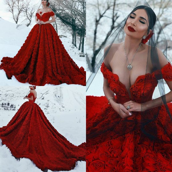 Luxury 3D Floral Red Ball Gown Wedding Dresses New 2019 Sexy Off Shoulder Deep V Neck Vintage Gothic Corset Bridal Gowns Long Train