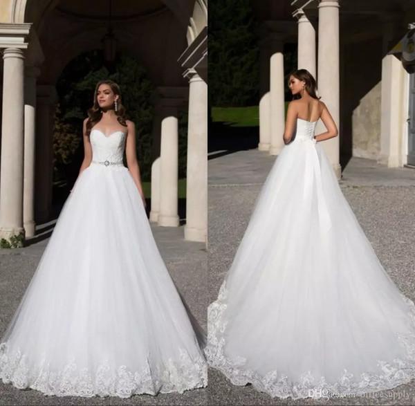 Luxus Dubai Sleeveless Perlen Sash Brautkleider Liebsten Lace Appliques Lace-up Brautkleider Sweep Zug Saudi-Arabien Vestidos