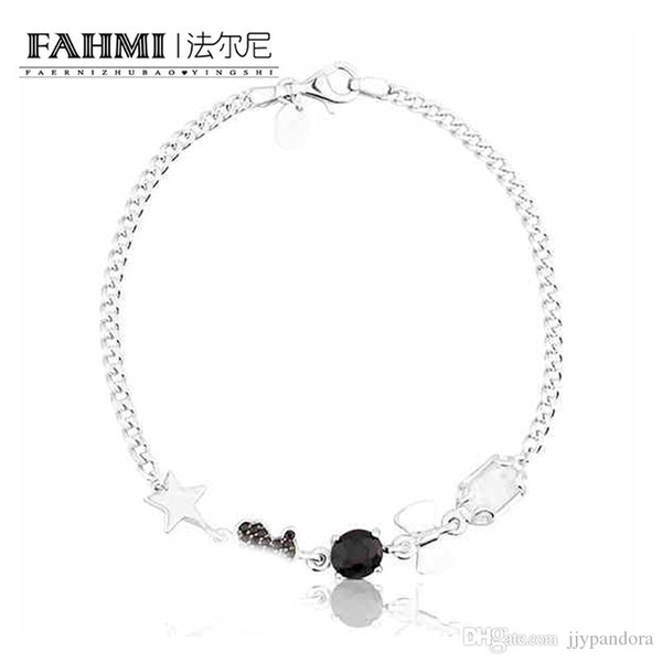 FAHMI 100% 925 Sterling Silver Cute Little Bear Stars Romantic Crystal Bracelet Inlaid Gems Suitable for Women Holiday Gifts 512791500