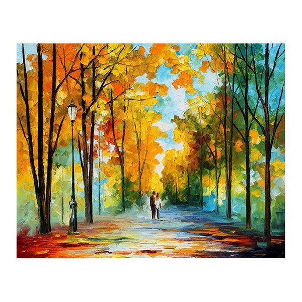 72x48 Hand-painted canvas oil painting The woods Forest path living room sofa background wall decoration painted European painting