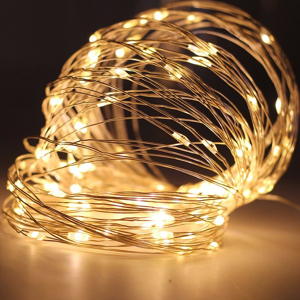10m 100leds Battery Operated Led String Mini Led Copper Wire String Fairy Light Christmas Xmas Home Party Decoration Light Warm Pure White Outdoor
