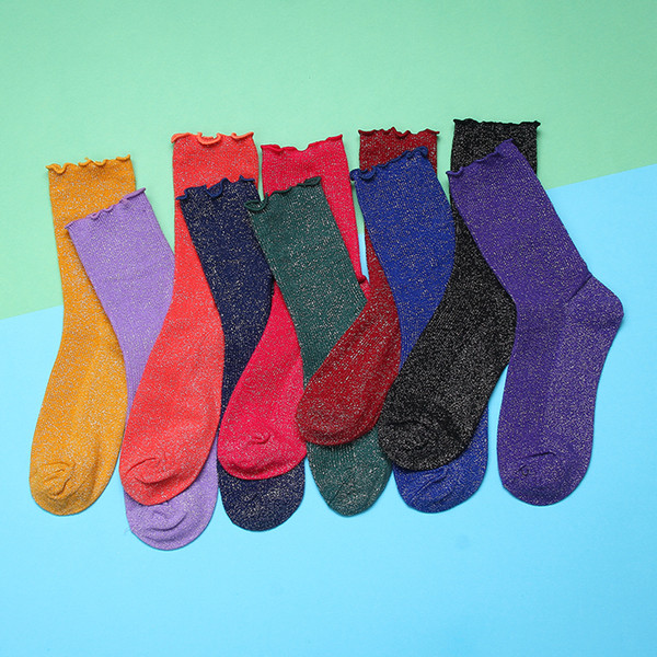 Calzini glitterati donna Streetwear Hip Hop Shiny Long Sock 2019 Moda Harajuku Soft Women Calze elastiche Ladies Vintage Sox