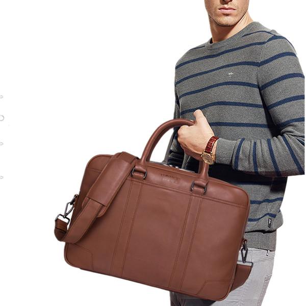 2019 New Man Business Handbag Affairs Briefcase Men Cow Genuine Leather Single Shoulder Package Male Portable Office Work Bag